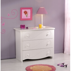 Commode enfant contemporaine 3 tiroirs blanc Megève Malicia