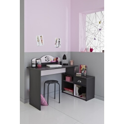 Bureau enfant contemporain gris ombre/rose Pop Art