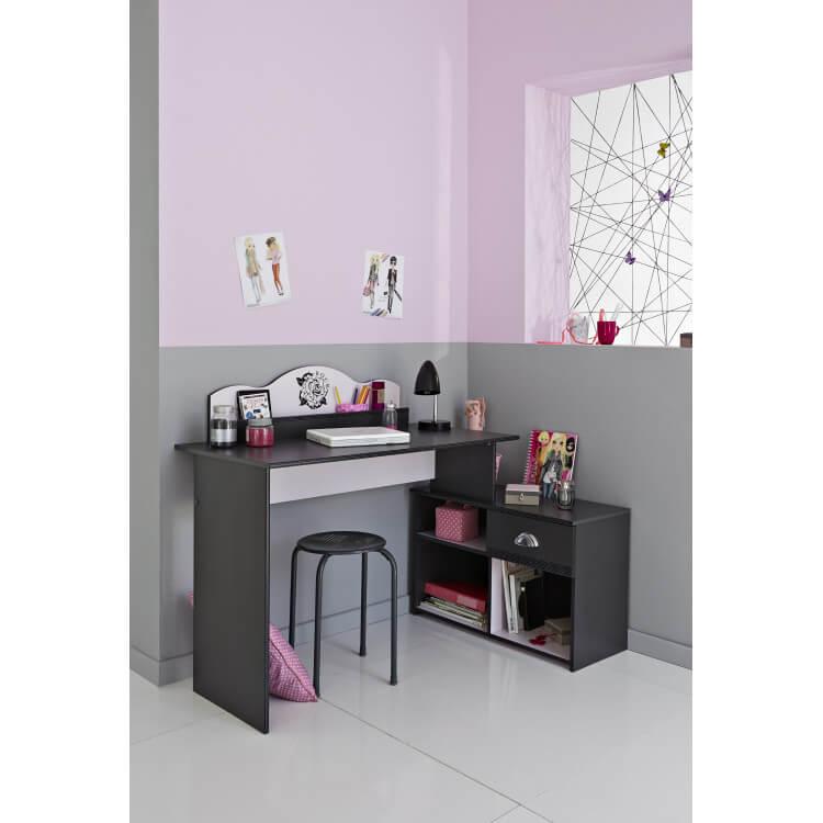 Bureau enfant contemporain gris ombre/rose Pop Art
