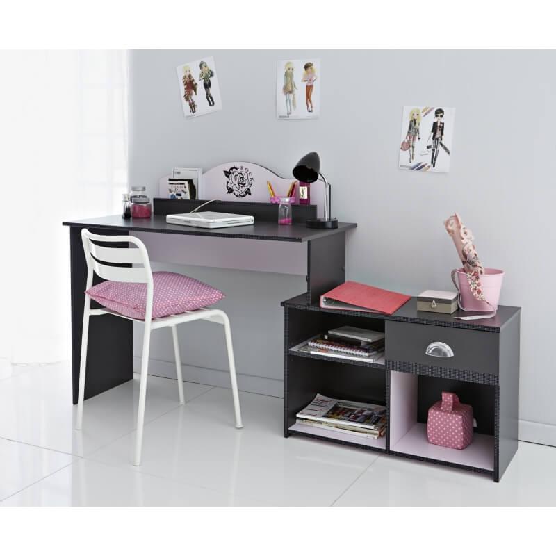 bureau enfant contemporain gris ombre rose pop art. Black Bedroom Furniture Sets. Home Design Ideas