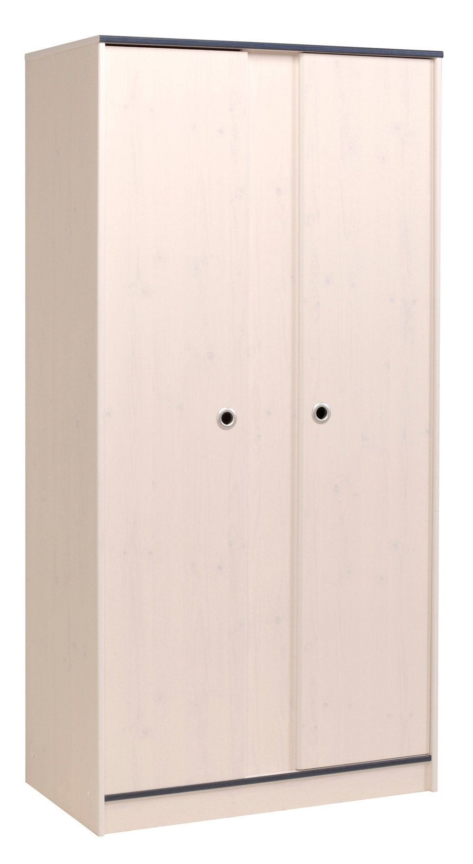 Armoire enfant 2 portes contemporaine pin memphis/rose ou bleu Droopy