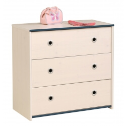 Commode enfant contemporaine 3 tiroirs pin memphis/rose ou bleu Droopy