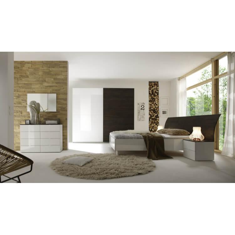 Chambre adulte complète design wengé/blanc laqué Ténérif