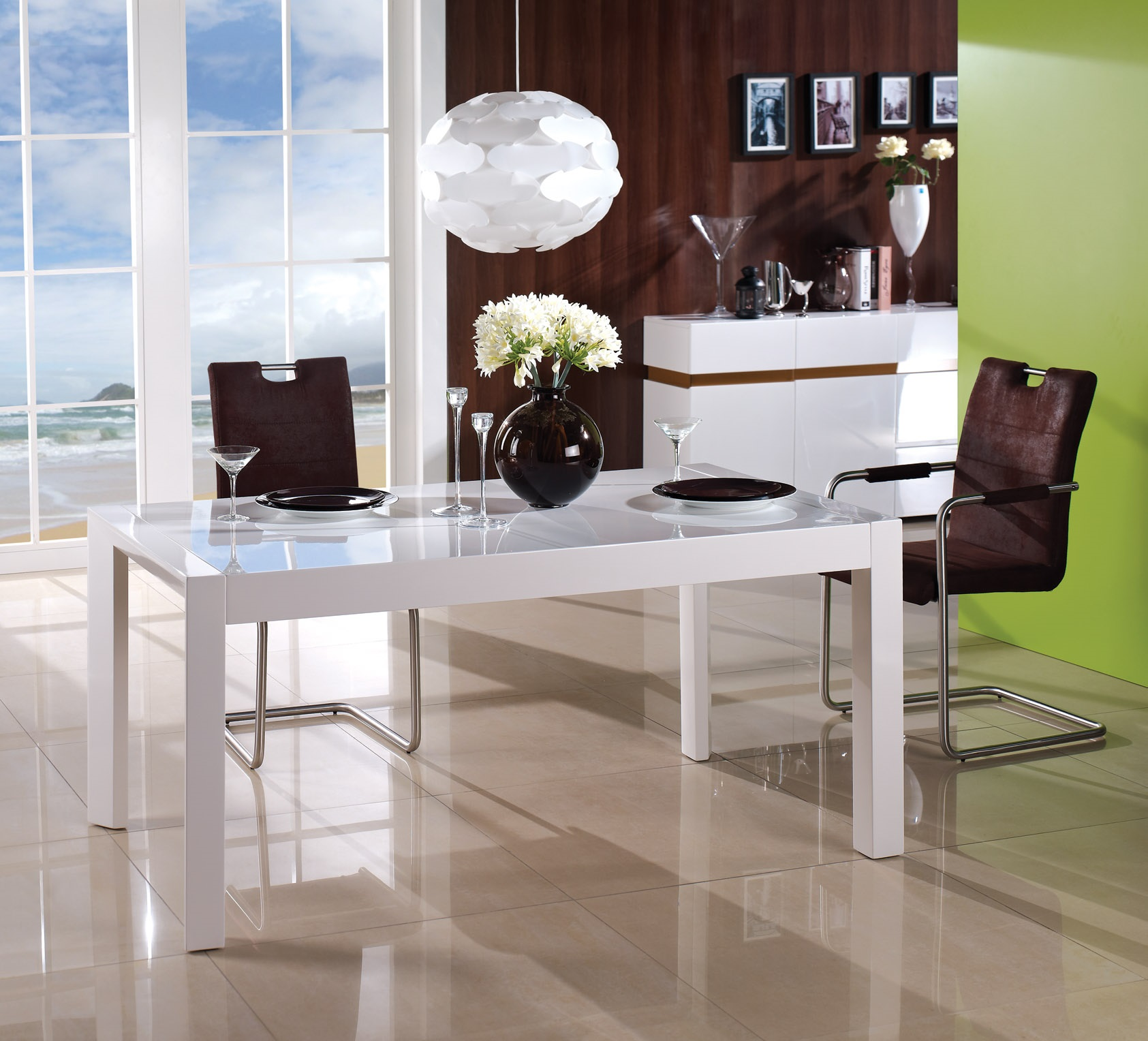Table de salle manger design extensible en bois blanc braga for Table de salle a manger design