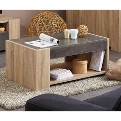 Table basse contemporaine coloris chêne/bêton Avorio