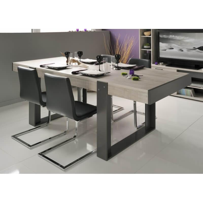 Table de salle manger rectangulaire gris loft gris ombre cesario 2 matelpro - Salle a manger loft ...