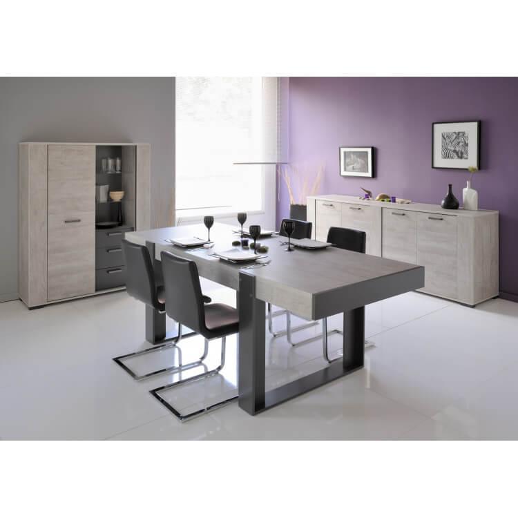 Salle à manger contemporaine gris loft/gris ombre Cesario 2