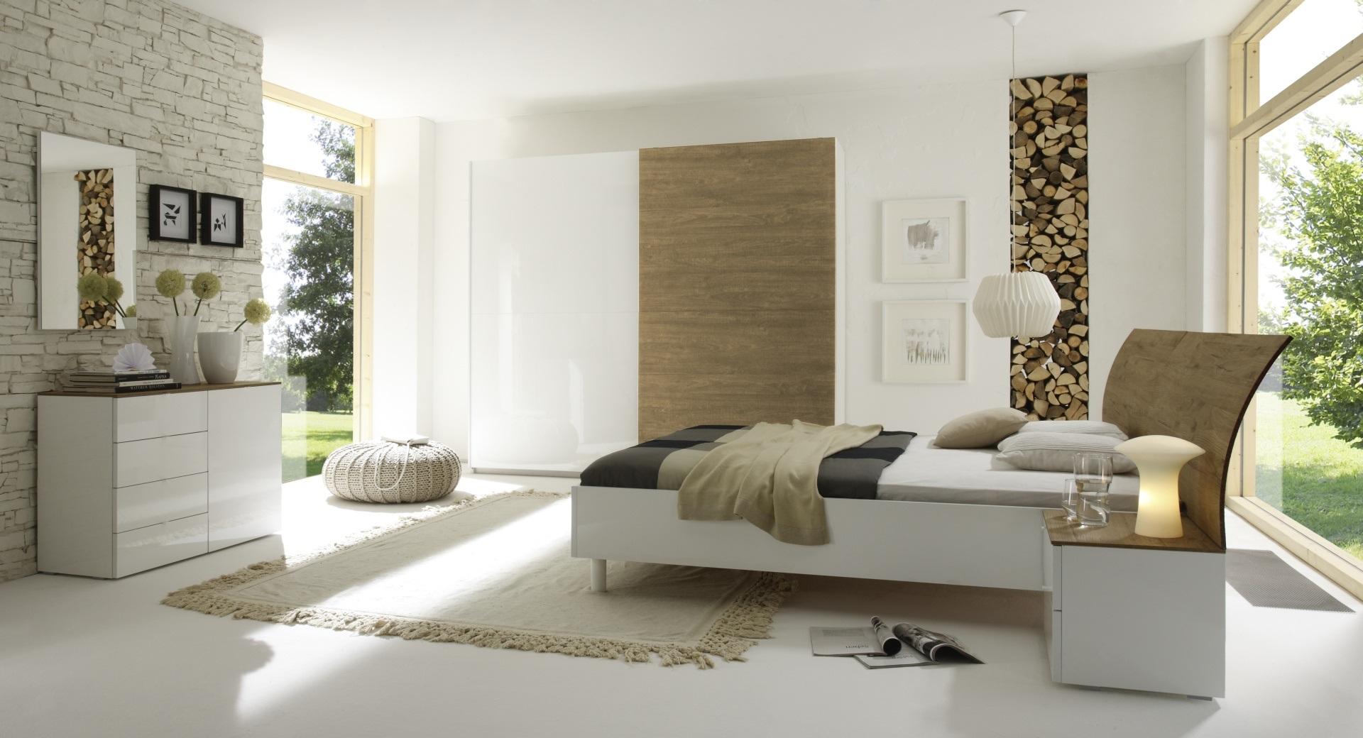 Chambre adulte complète design blanc laqué/miel Cordula
