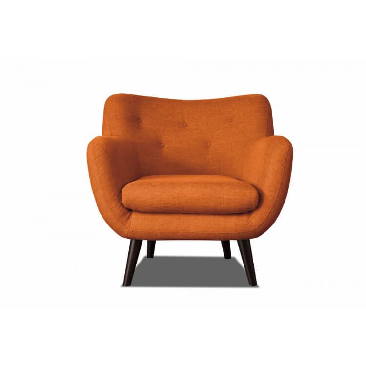 Fauteuil design en tissu orange Axelle