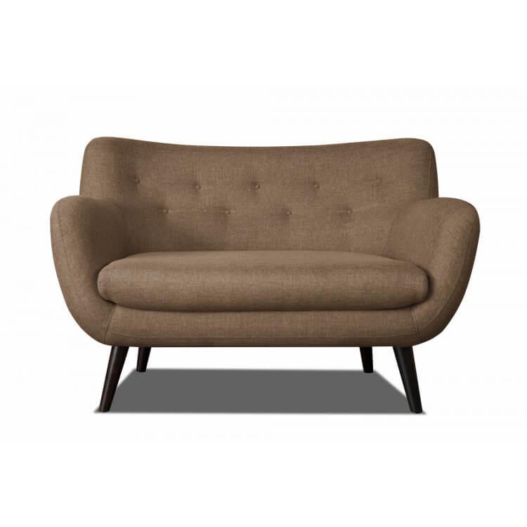 Canapé 2 places design en tissu brun Axelle