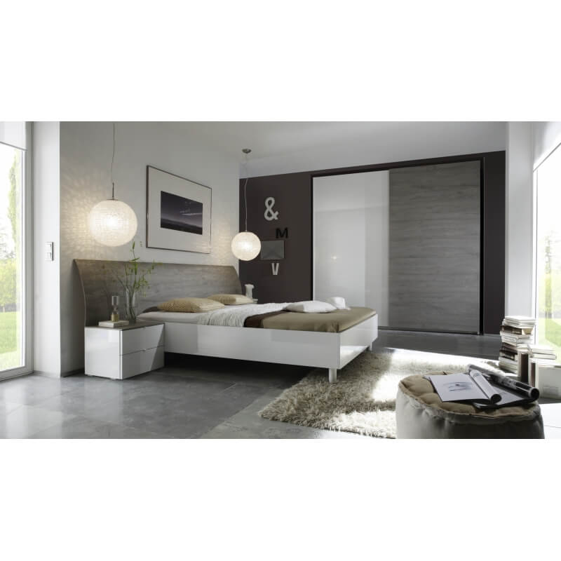 armoire design 2 portes coulissantes blanc laqu gris stevia. Black Bedroom Furniture Sets. Home Design Ideas
