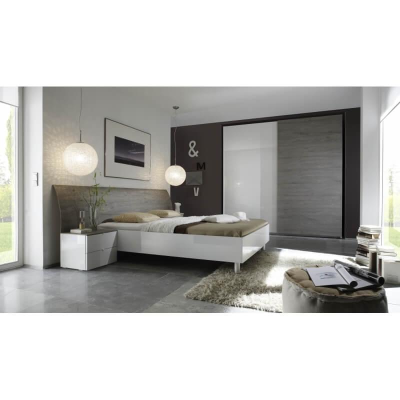 Armoire design 2 portes coulissantes blanc laqu gris stevia - Armoire 2 portes coulissantes blanc ...