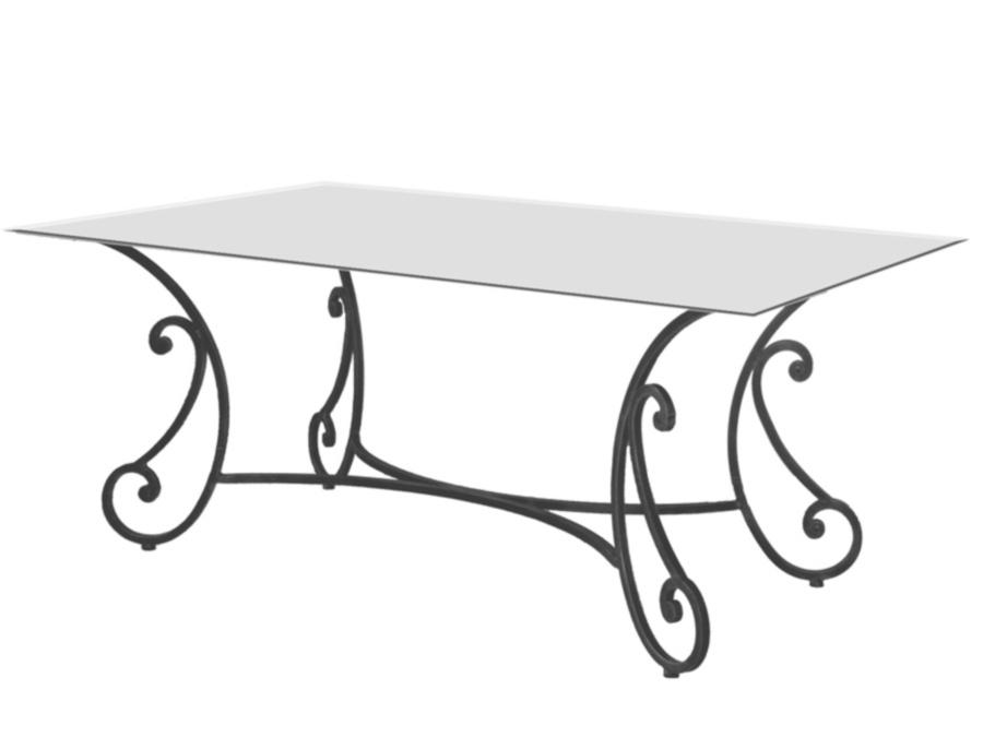 Table verre & fer forgé rectangulaire de salle à manger ROMANCE