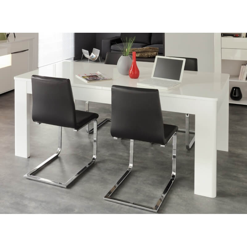 table de salle manger design rectangulaire extensible blanc blanc brillant cezanne. Black Bedroom Furniture Sets. Home Design Ideas