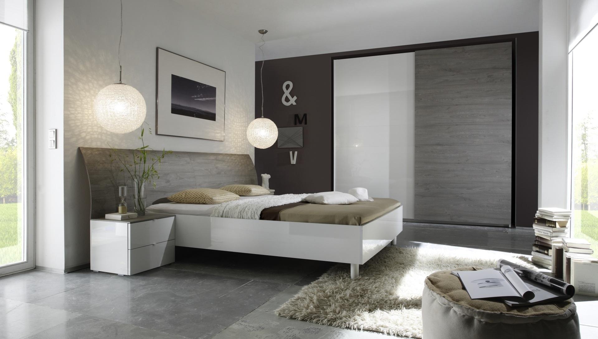 Chambre adulte complète design blanc laqué/gris Stevia II