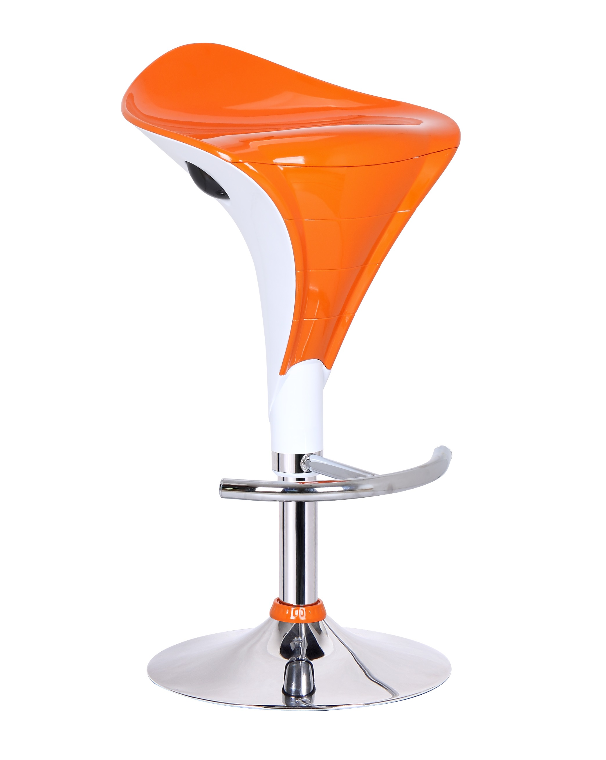 Tabouret de bar design blanc et orange (lot de 2) Marty
