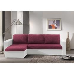 Canapé d'angle convertible réversible microfibre prune/PVC blanc Milo