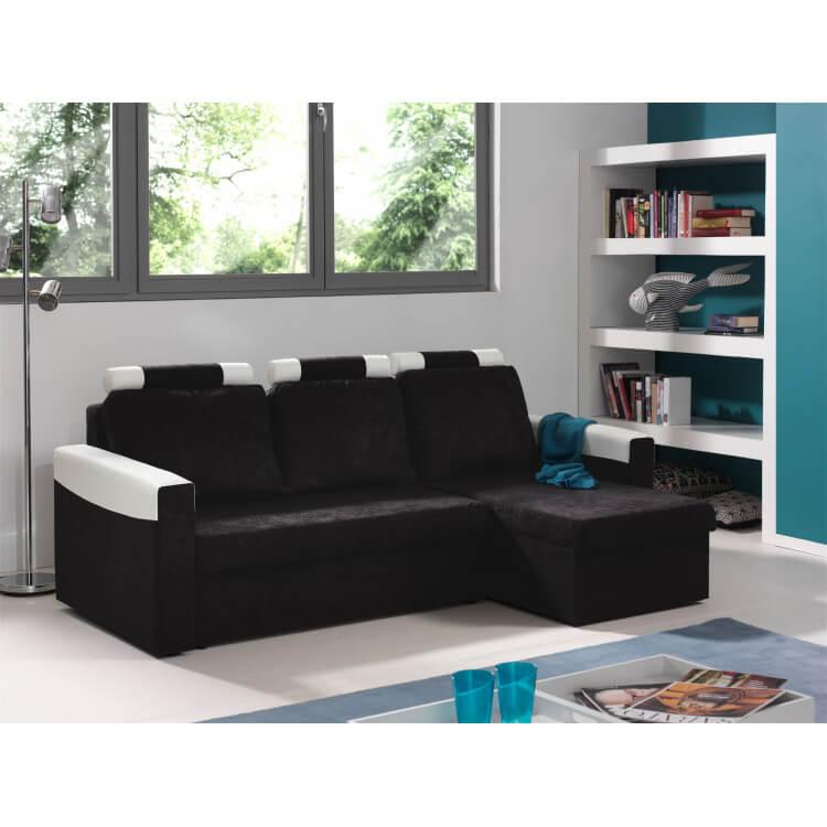 Canapé d'angle convertible réversible microfibre noire/PVC blanc Joachim