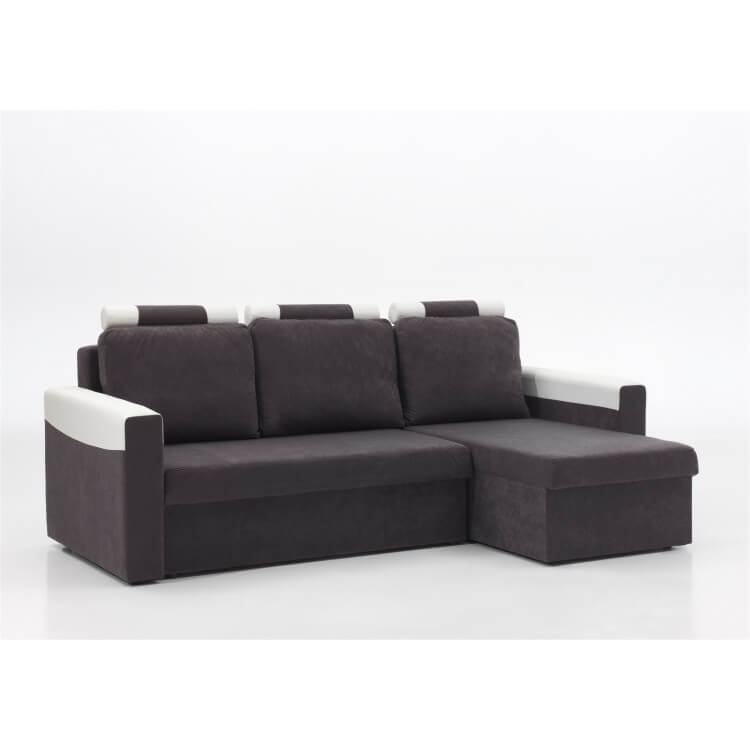 Canapé d'angle convertible réversible microfibre grise/PVC blanc Joachim