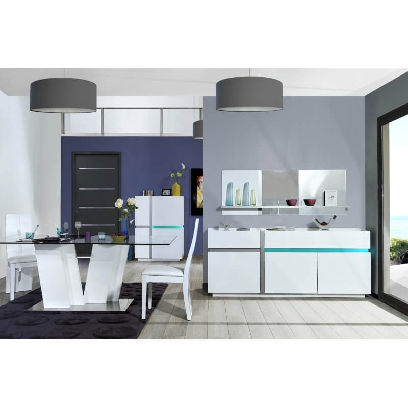 Table de salle manger design blanc laqu joss matelpro - Table salle a manger design blanc laque ...