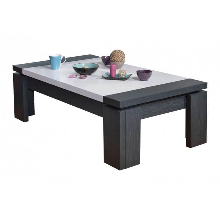 Table Basse Rectangulaire Contemporaine Gris Blanc Laque Medusine