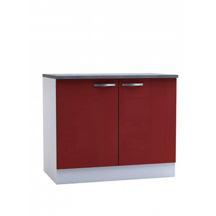 meuble bas de cuisine contemporain 2 portes blanc mat rouge brillant cyrius matelpro. Black Bedroom Furniture Sets. Home Design Ideas
