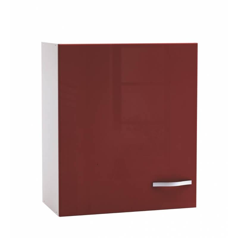 meuble haut de cuisine contemporain 60 cm 1 porte blanc mat rouge brillant cyrius. Black Bedroom Furniture Sets. Home Design Ideas