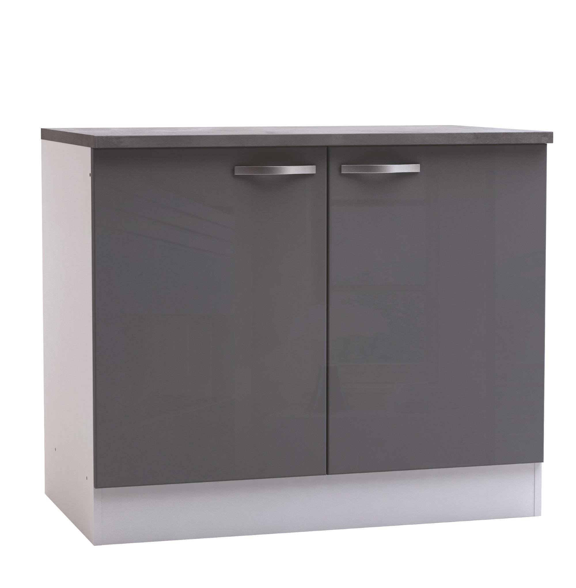 Meuble bas de cuisine contemporain 2 portes blanc mat/gris brillant Tripoli