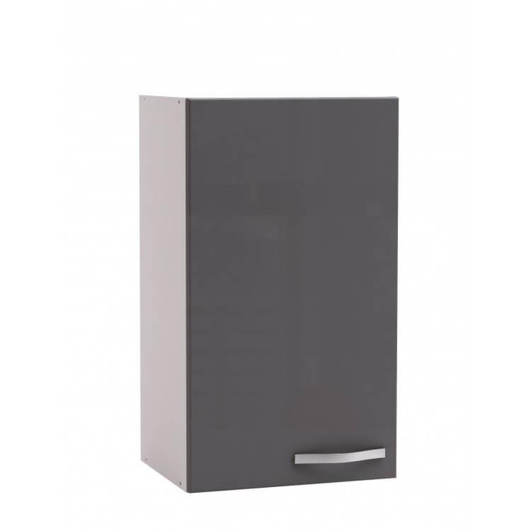 Meuble haut de cuisine contemporain 40 cm 1 porte blanc mat/gris brillant  Tripoli
