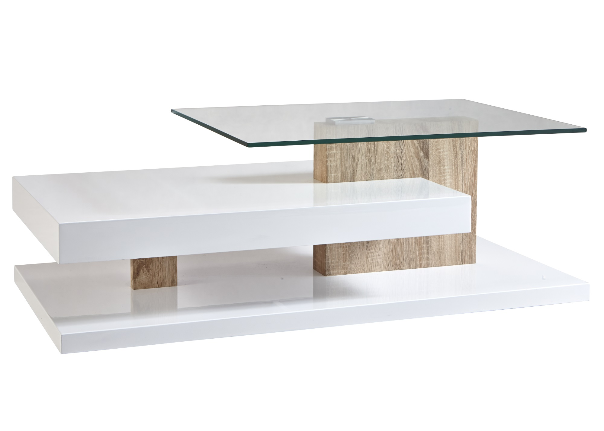 Table Basse Contemporaine Rectangulaire Bois Verre Cyriane