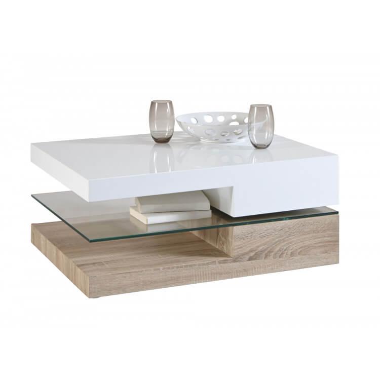Contemporaine Table Eviane Rectangulaire Basse Boisamp; Verre N8mv0nw