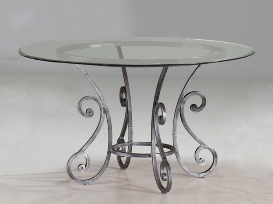 Table verre & fer forgé ronde de salle à manger ROMANCE