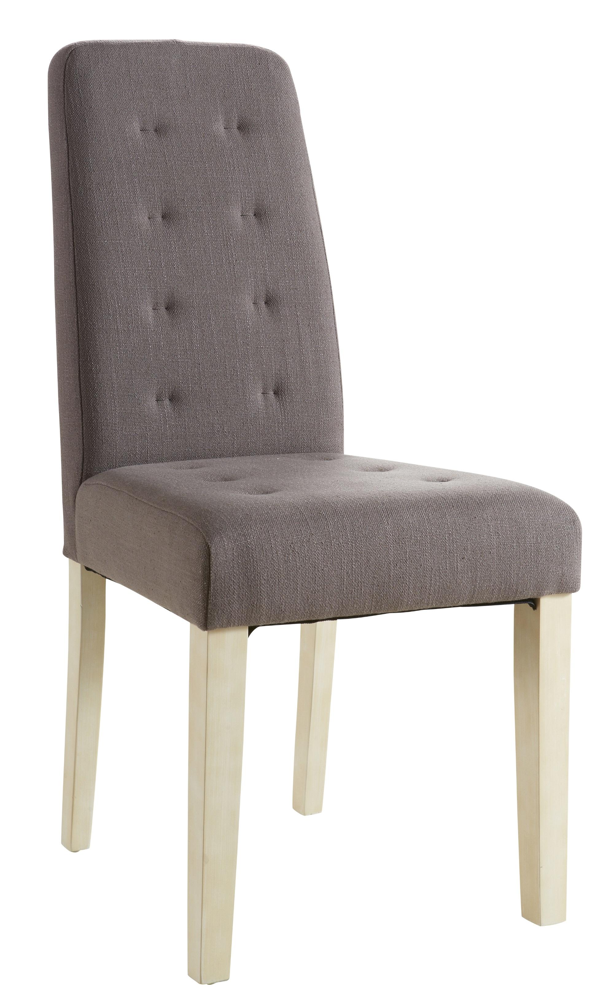 Chaise de salle à manger contemporaine en tissu taupe (lot de 2) Algar