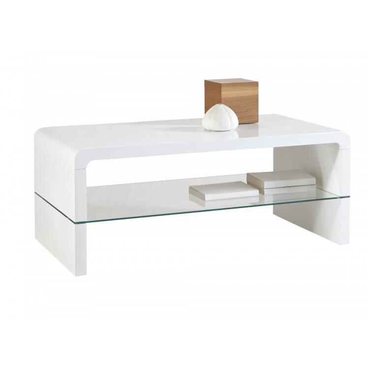 Table Basse Design Rectangulaire Bois Verre Blanc Laque Luciole