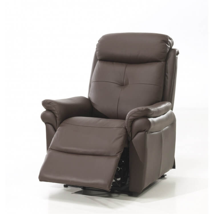Fauteuil de relaxation électrique 2 moteurs avec releveur en cuir brun Giovanni