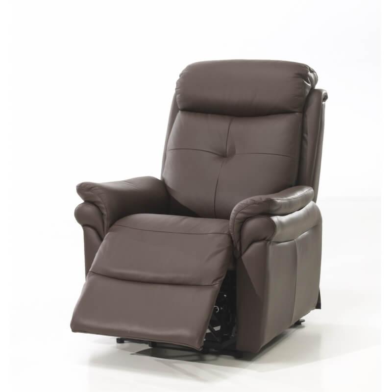 fauteuil de relaxation lectrique 2 moteurs avec releveur en cuir brun giovanni matelpro. Black Bedroom Furniture Sets. Home Design Ideas