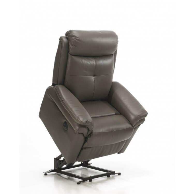 Fauteuil de relaxation électrique 2 moteurs avec releveur en cuir gris Giovanni