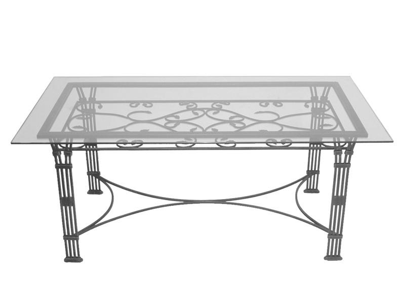 Table verre & fer forgé rectangulaire de salle à manger VENISE