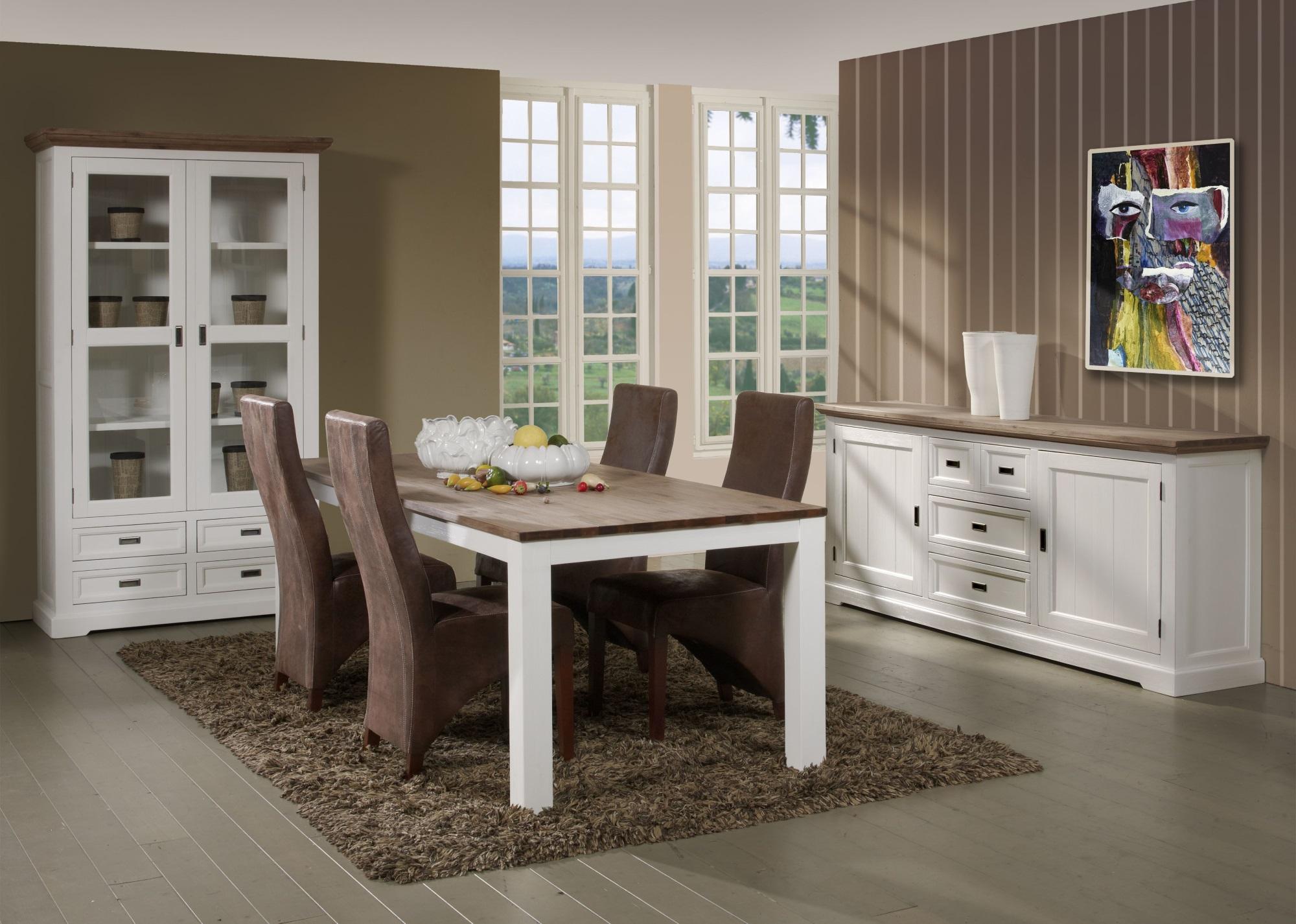 Salle à manger complète contemporaine coloris havana/blanc Kiaro II