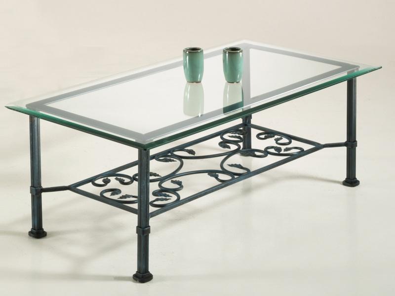 Table basse verre & fer forgé rectangulaire VENISE