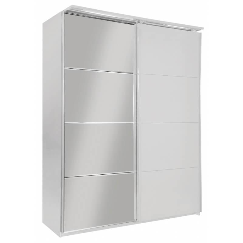 armoire design 2 portes coulissantes avec clairage laqu e blanche largo. Black Bedroom Furniture Sets. Home Design Ideas