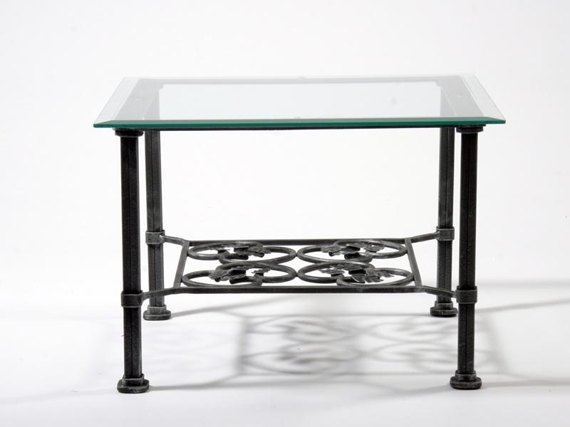 Table basse verre & fer forgé carrée VENISE