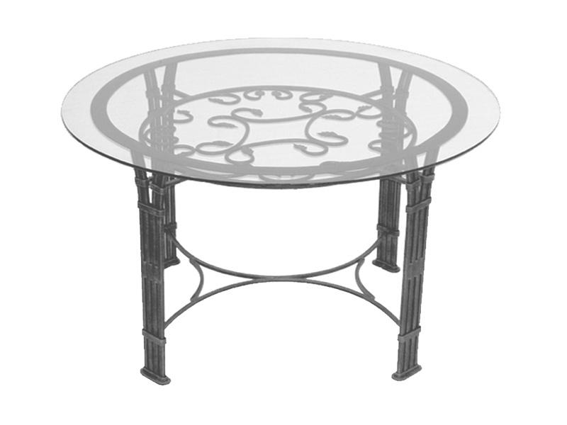 Table verre & fer forgé ronde de salle à manger VENISE