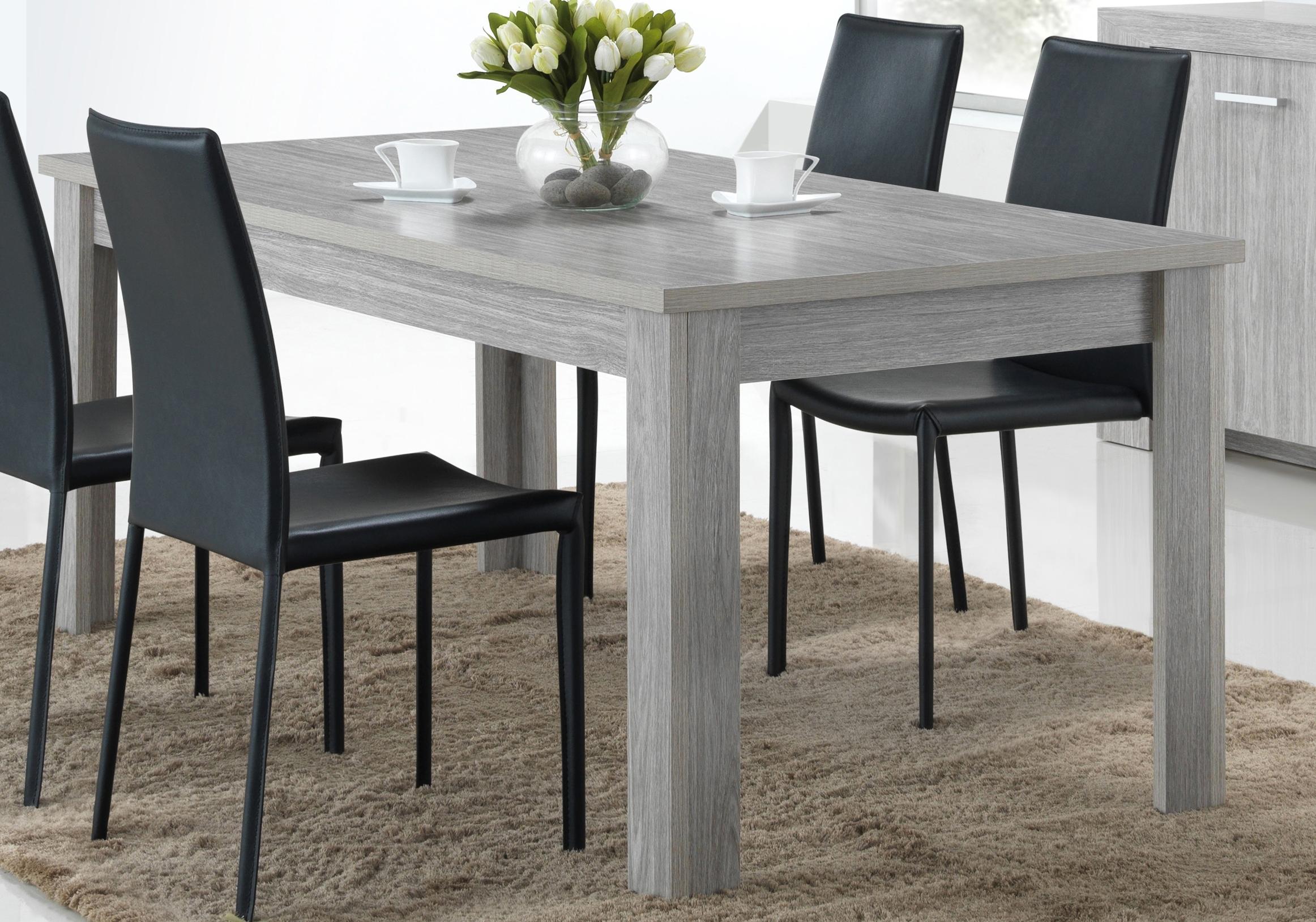 Table de salle à manger contemporaine chêne gris Paola