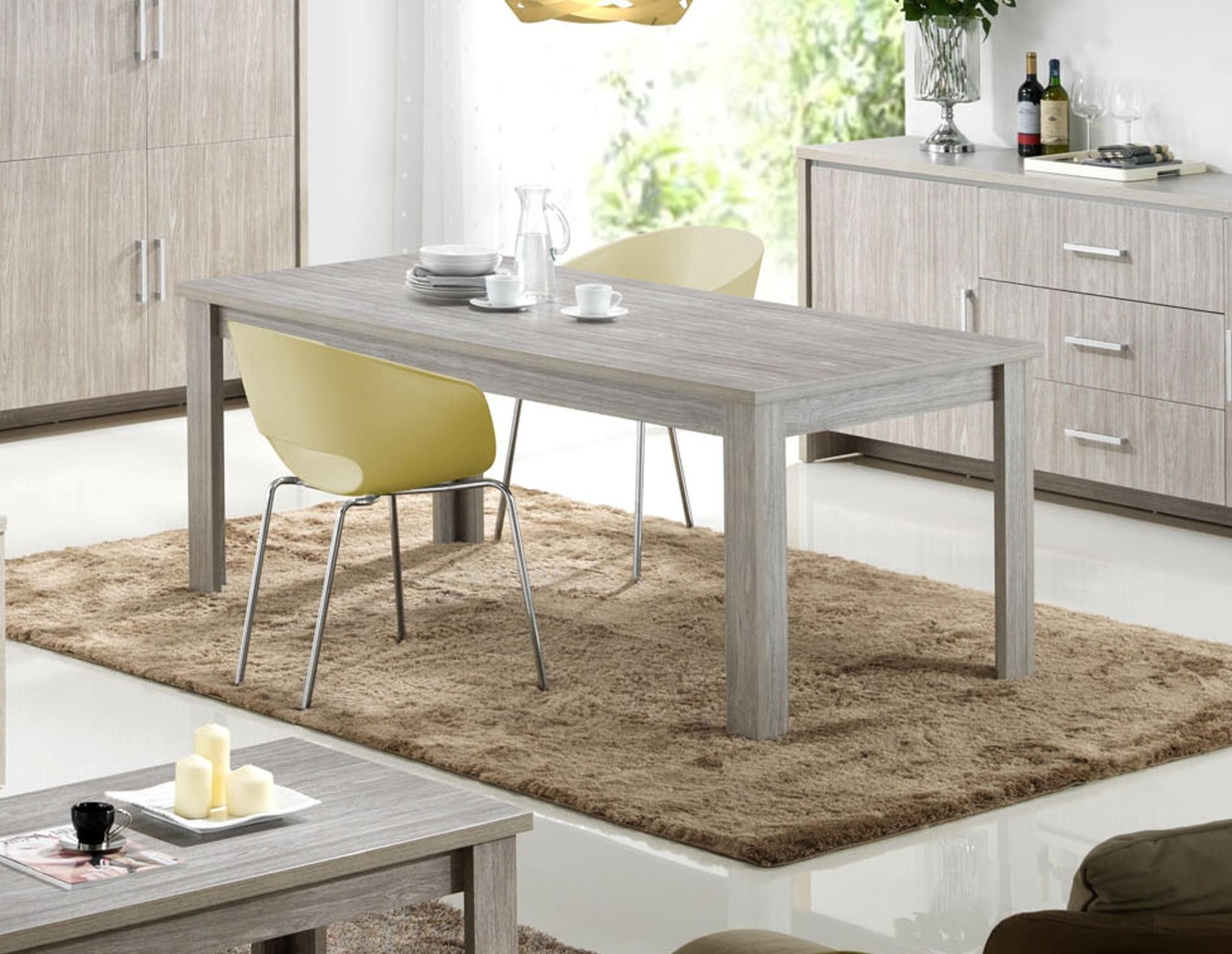 Table de salle à manger rectangulaire contemporaine chêne gris Tristan
