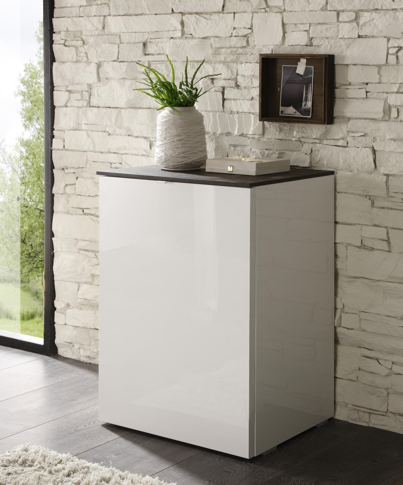 Meuble De Rangement Design 1 Porte Blanc Laque Louisa