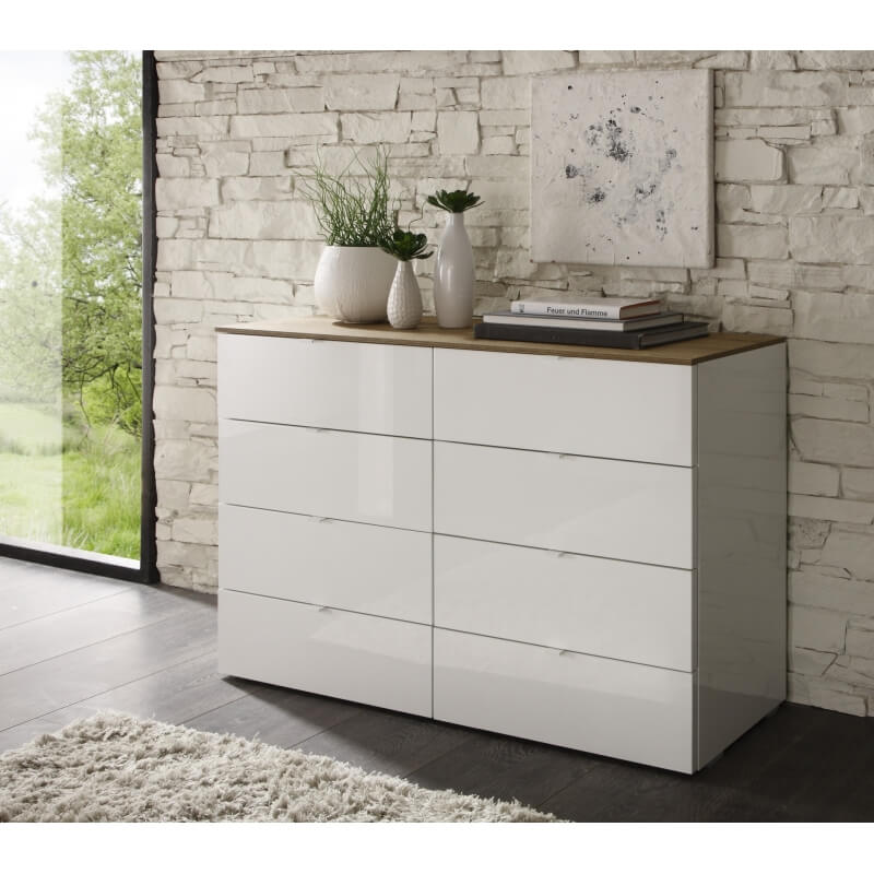 meuble de rangement design 8 tiroirs blanc laqu louisa. Black Bedroom Furniture Sets. Home Design Ideas