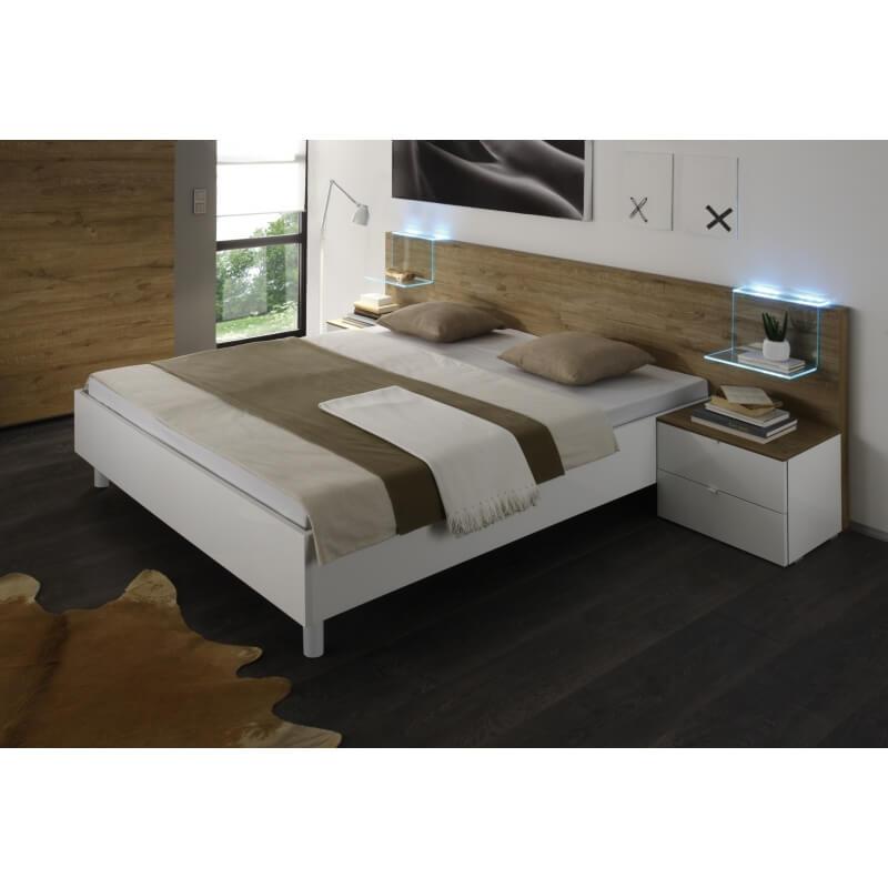 lit adulte design blanc laqu miel cordula ii. Black Bedroom Furniture Sets. Home Design Ideas