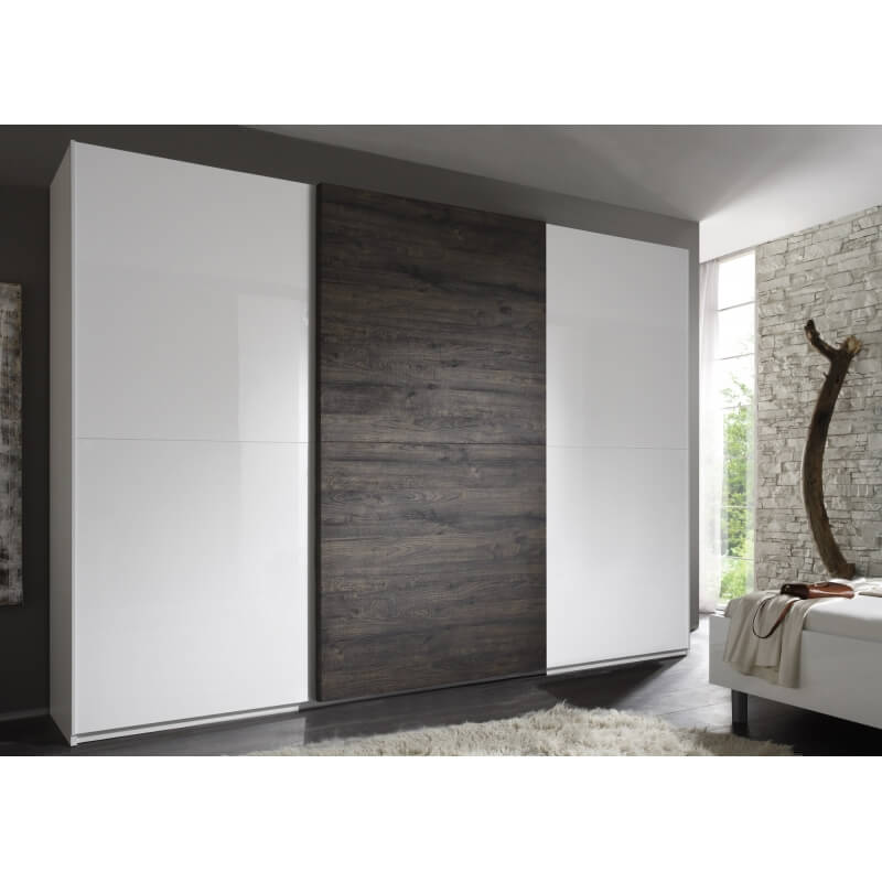 armoire design 3 portes coulissantes blanc laqu gris stevia. Black Bedroom Furniture Sets. Home Design Ideas