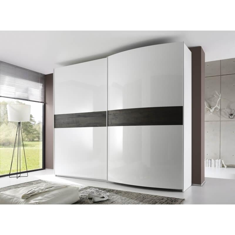 Armoire design 2 portes coulissantes blanc laqu weng stevia ii - Armoire 2 portes coulissantes blanc ...